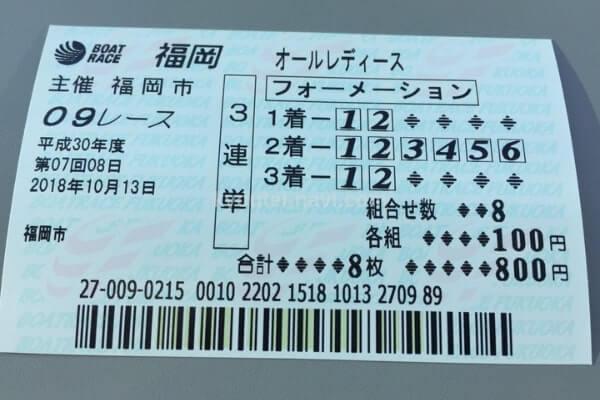福岡競艇場の舟券