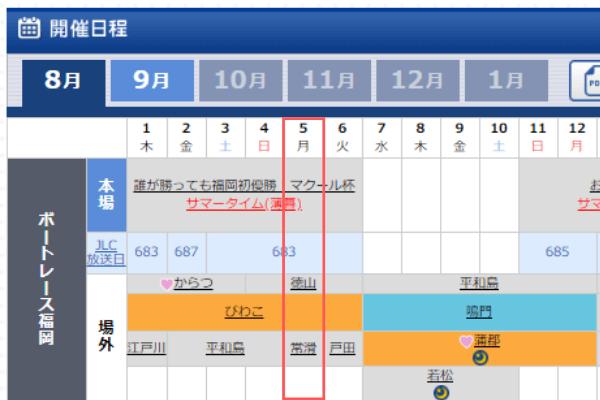 福岡競艇場の開催日程