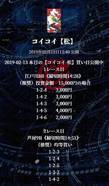 花舟の2月13日の有料情報