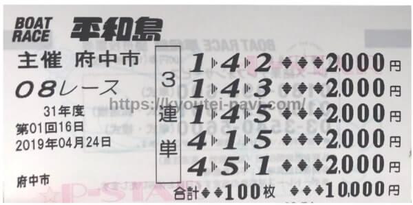 1レース目の舟券