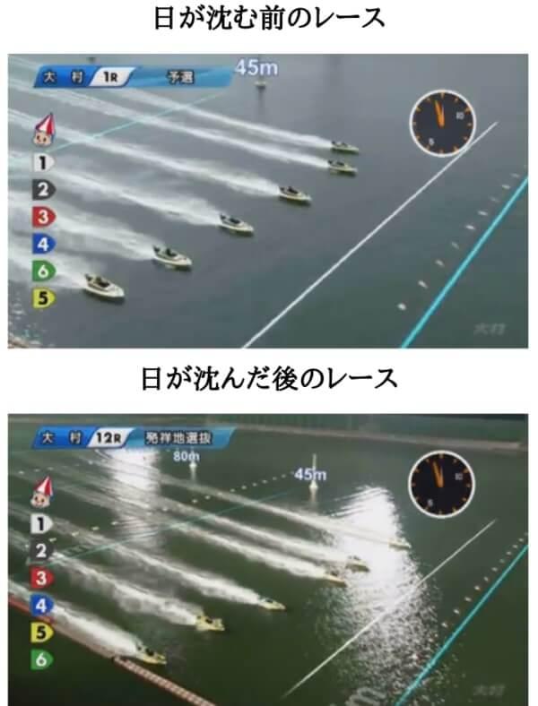 ナイターレースとデイレースの比較
