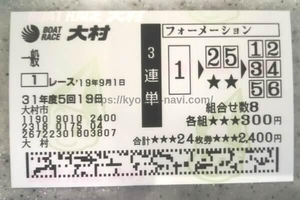 大村競艇場の9月1日の第1レースの舟券