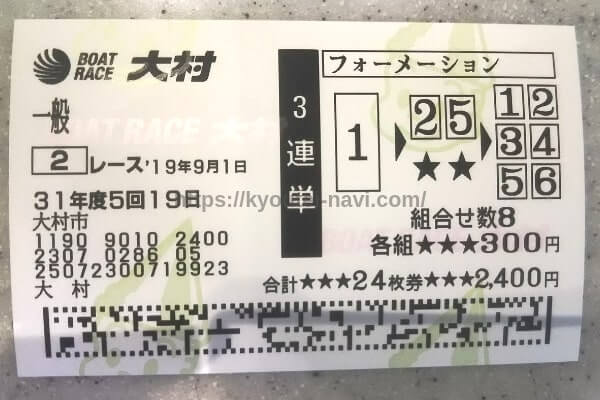 大村競艇場の9月1日の第2レースの舟券