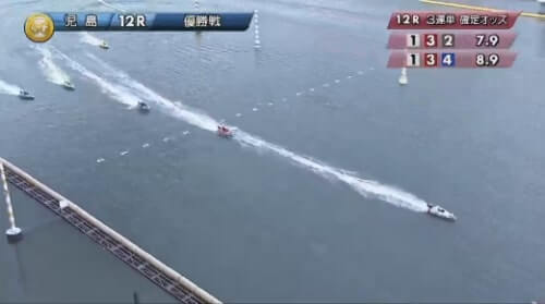 児島競艇場の第12レースのゴール