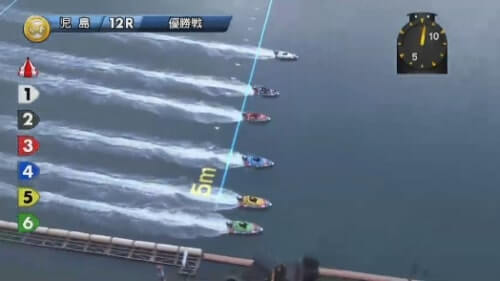 児島競艇場の第12レースのスタート
