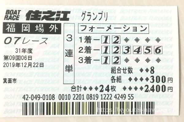 第7レースの舟券