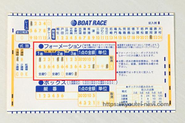 三連単「1-23-全」のマークシート
