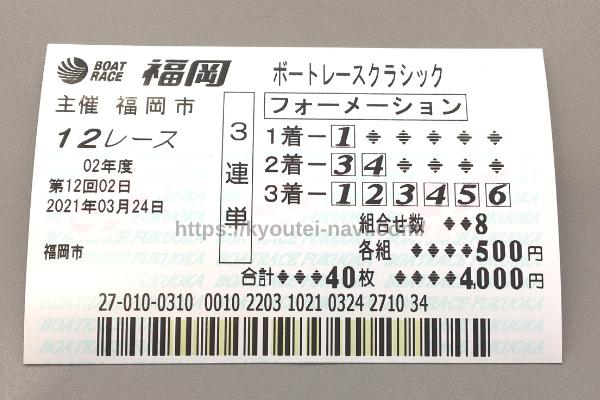 福岡第12Rの舟券