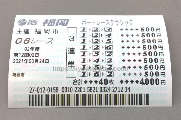 福岡第6Rの舟券