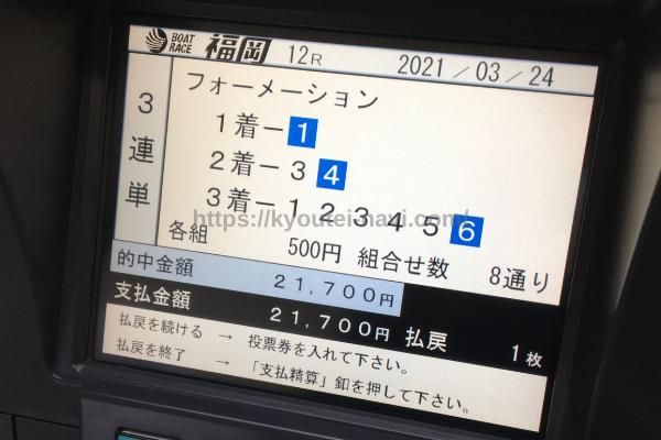 福岡第12Rの払戻金