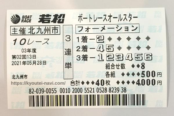 若松10Rの購入舟券