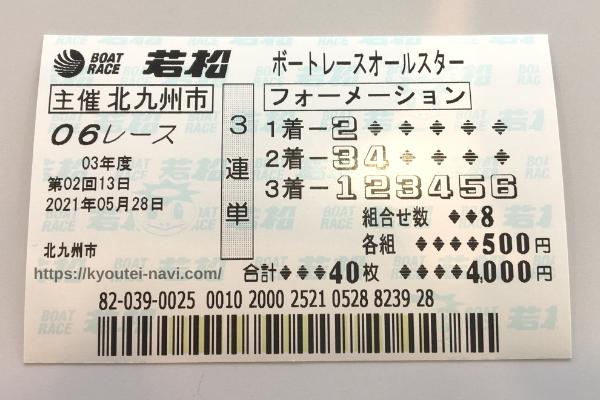 若松6Rの購入舟券