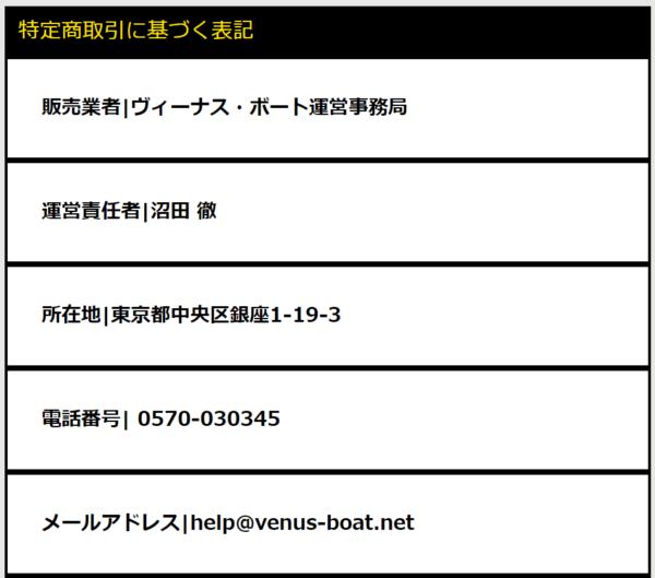 ヴィーナスボートの運営者情報