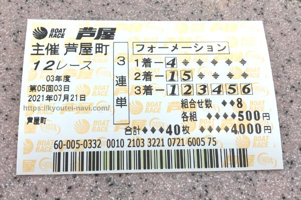 芦屋12Rの舟券
