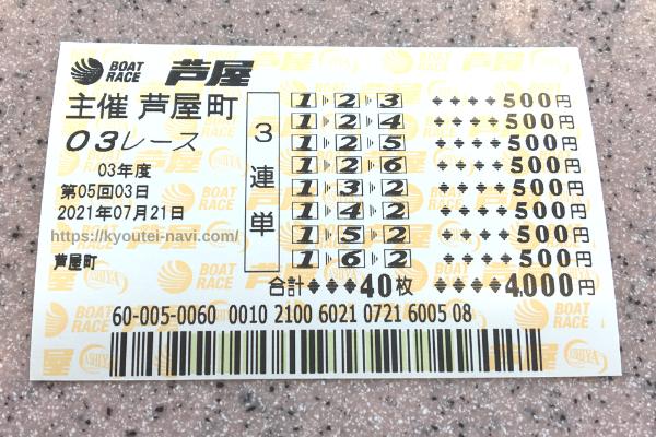 芦屋3Rの舟券